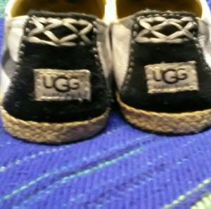Ugg black and white flats